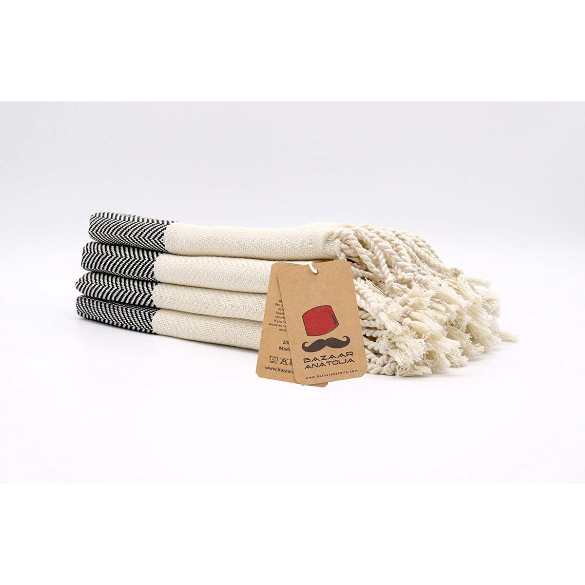 Set of 4 Hand Towel Herringbone Kitchen Bath Face Turkish Towel 45x20