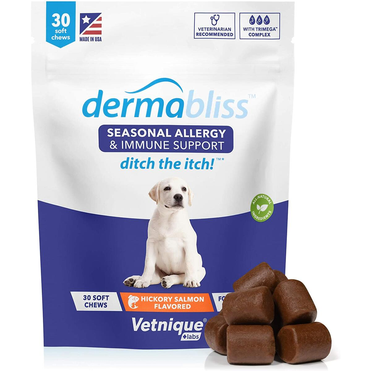 Dermabliss Seasonal Allergy & Immune Support for Dogs with Omega 3-6-9, Probiotics, Enzymes, Fish Oil and Colostrum Powder - Hickory Salmon Flavored Dog Treats