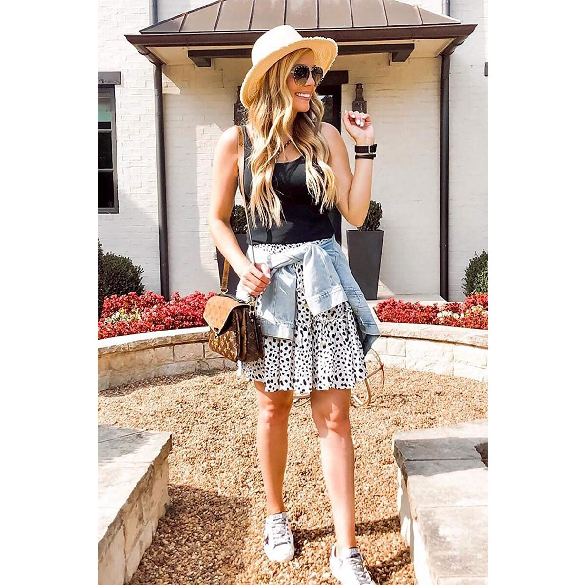 Women's Summer Cute High Waist Ruffle Skirt Floral Print Swing Beach Mini Skirt Black Dot