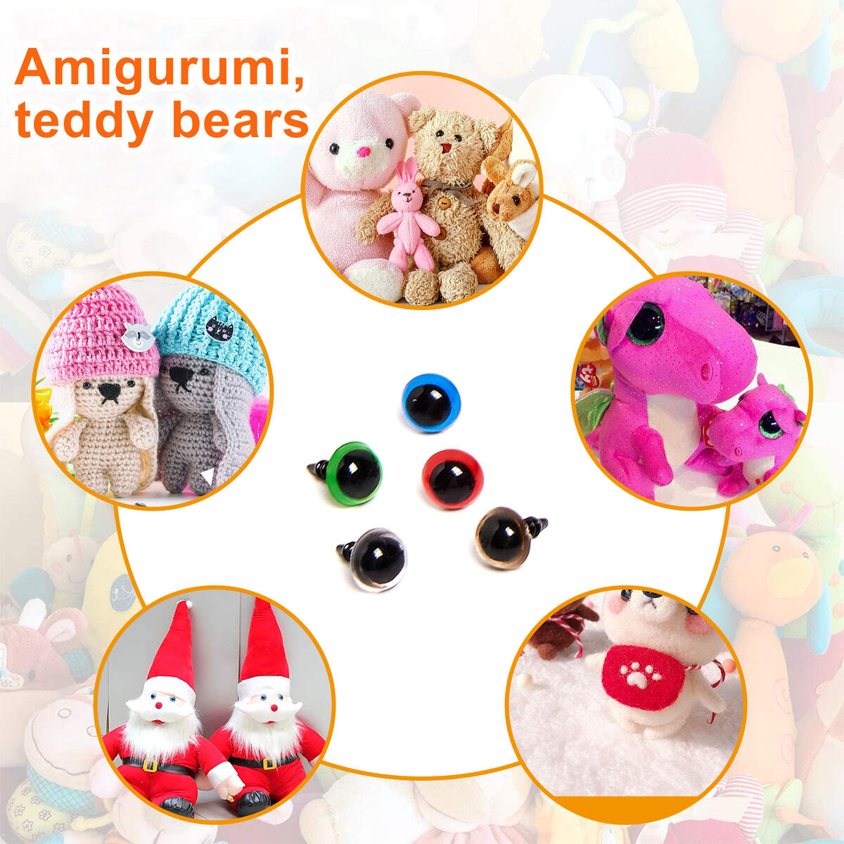 636pcs Plastic Safety Eyes and Noses, Includes 228pcs Colorful Safety Eyes and 90pcs Safety Nose with 318pcs Washers, Multiple Sizes for Doll, Plush Animal and Teddy Bear Craft Making