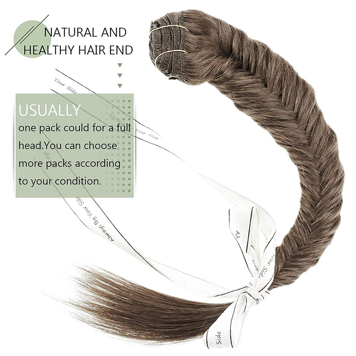 RUNATURE Clip In Hair Extensions 16 Inch Color 6 Medium Brown 100g 9 PCS Real Double Weft Clip in Straight Hair Hair Weft Extensions