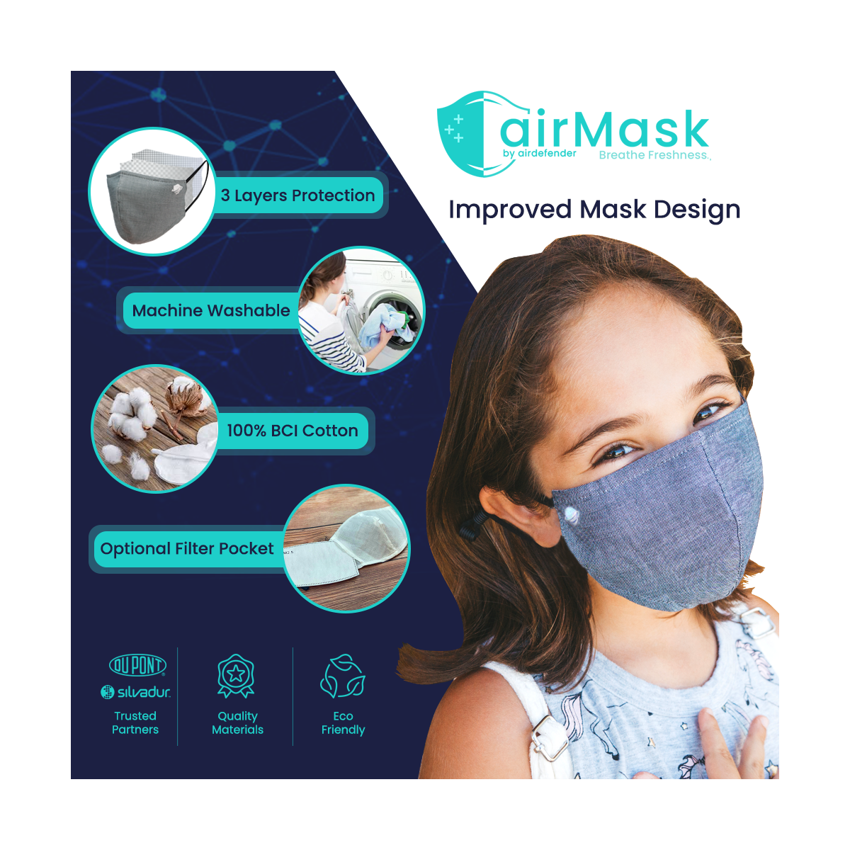 Premium Antimicrobial Washable Face Mask 2 Pack ( Adult Black Grey Only) - A Mask You Will Leave On