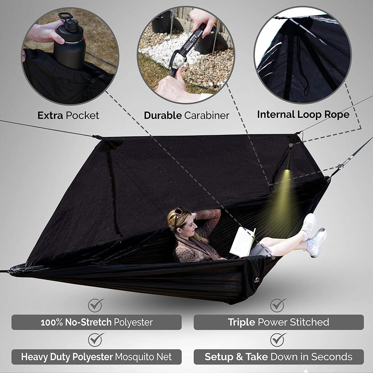 tamboo Camping Hammock with Mosquito Net - Double Hammock for Outdoor Travel, Hiking, Survival Tent with A Pillow, Portable Hammock for Trees with Strong Straps, Aluminum Carabiner, Black