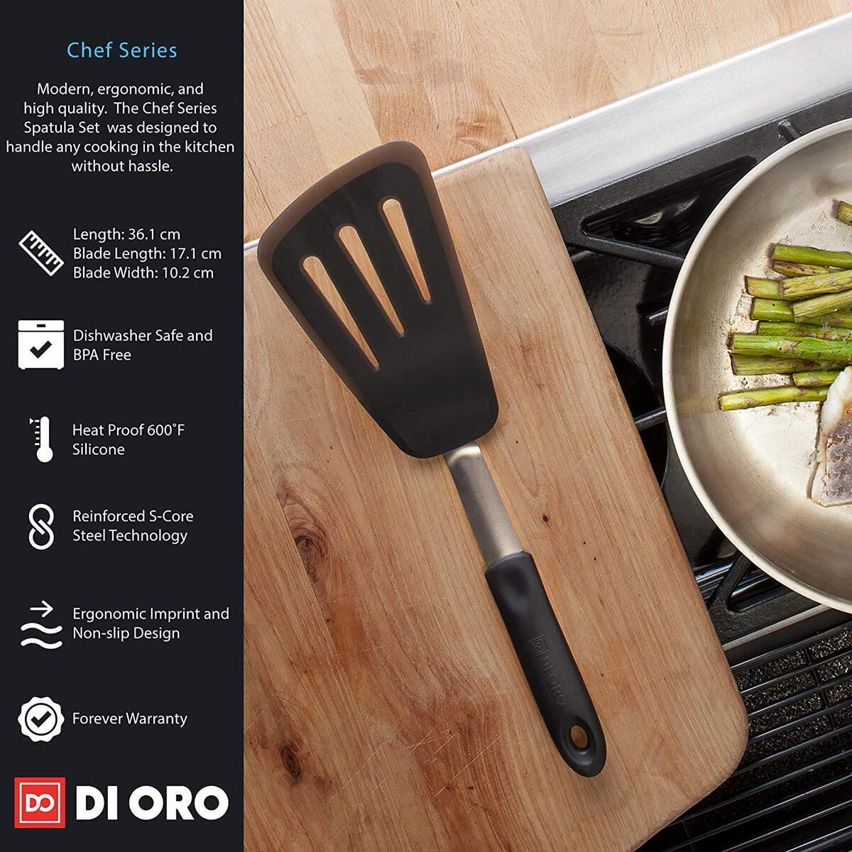 DI ORO Chef Series 3-Piece Silicone Turner Spatula Set - 600F Heat-Resistant Flexible Rubber Silicone Spatulas - Silicone Cooking Utensil Set - Egg Turners, Pancake Flippers, Kitchen Spatulas