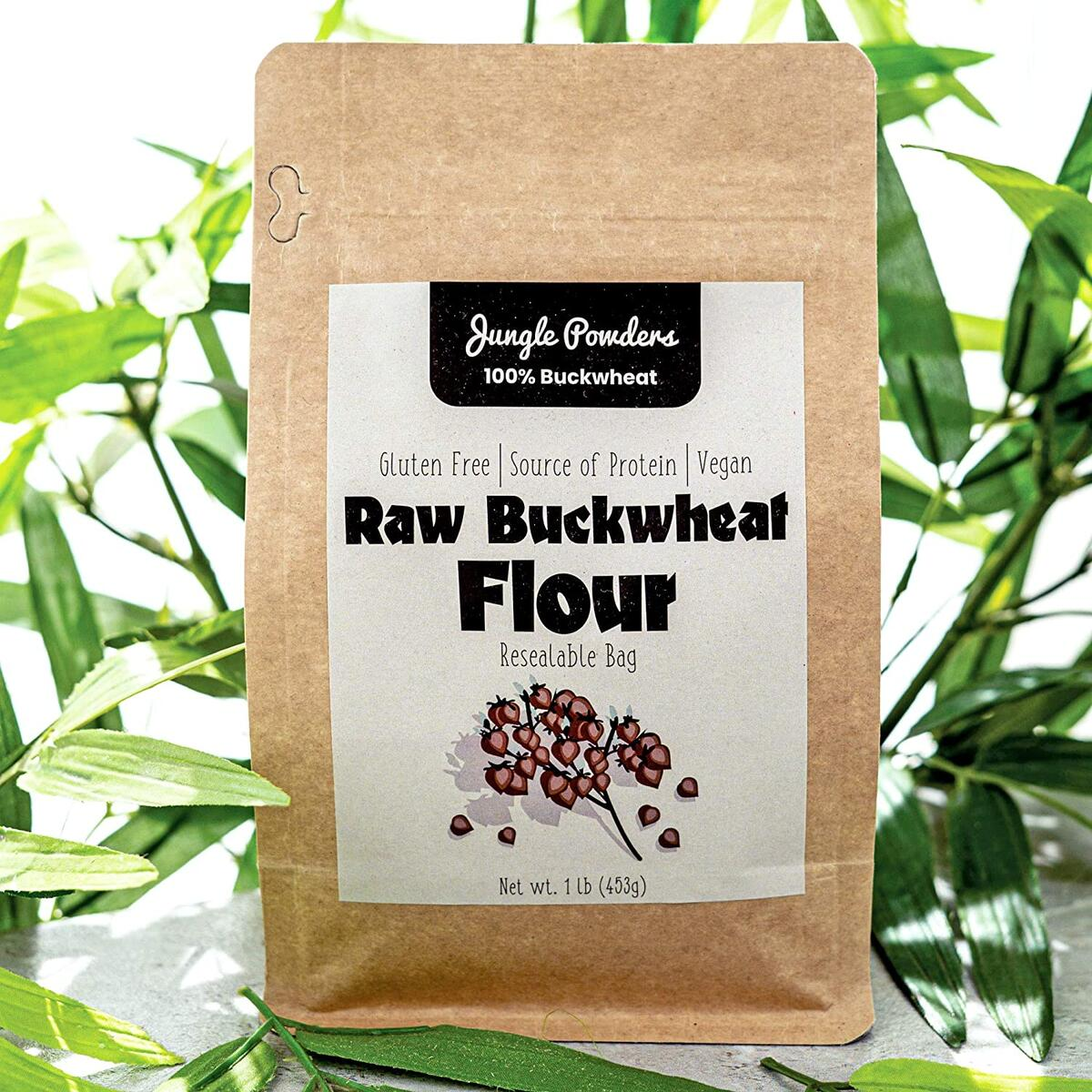 Jungle Powders Raw Buckwheat Flour Gluten Free 1lb Light Vegan Cooking Powder…