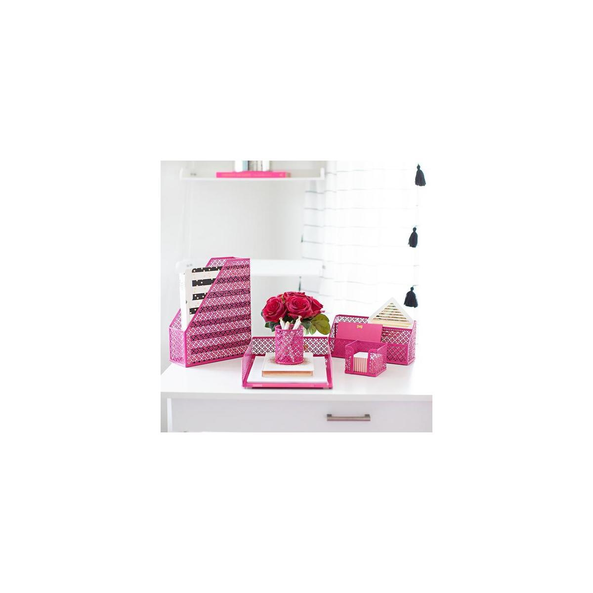 Blu Monaco Pink Office Supplies Hot Pink Desk Accessories for Women Office  - 34 Piece Cute Desk Organizer Set