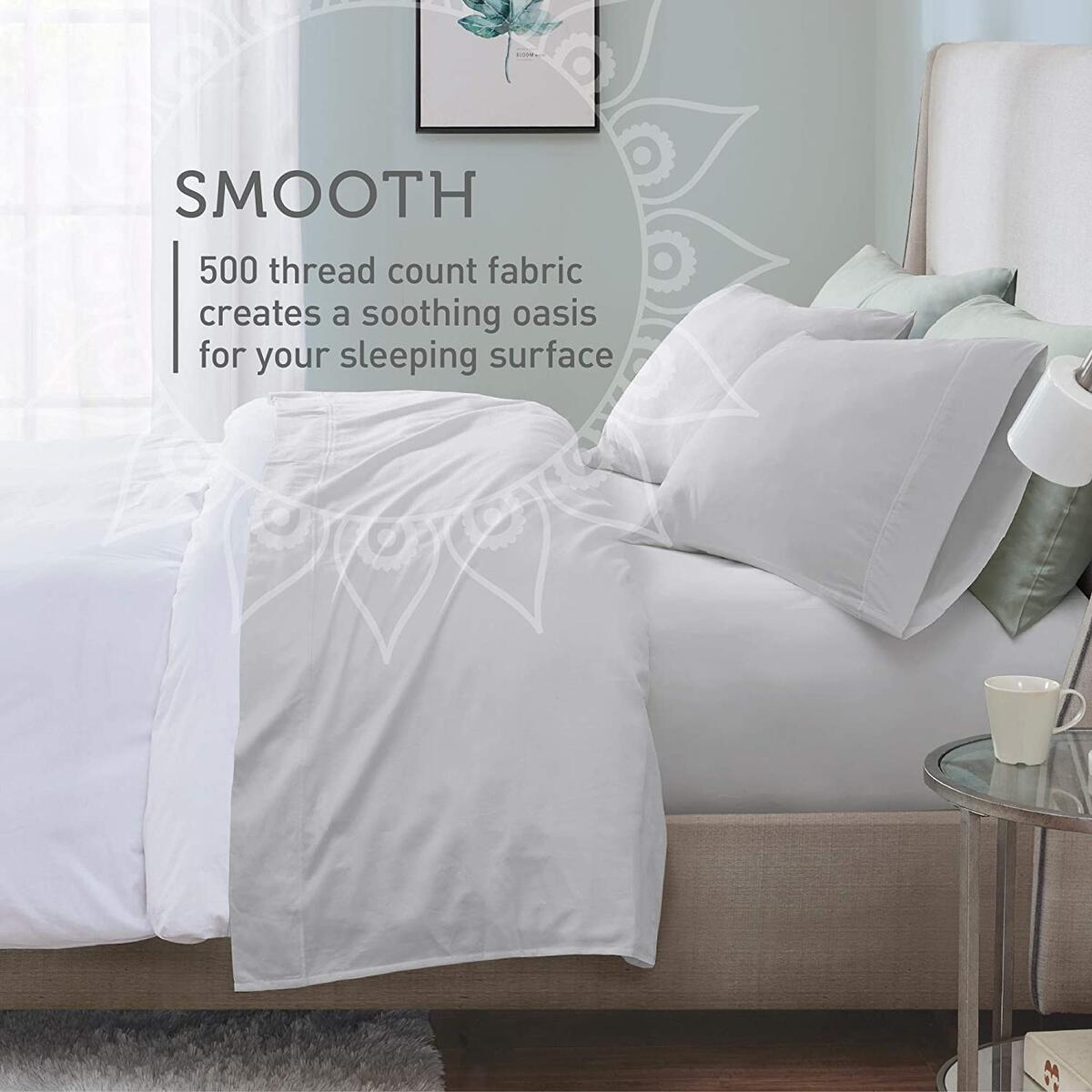 500 Thread Count Sateen Sheets Sets With Antimicrobial Fabric Treatment | 100% Long Staple Cotton Sheets | Hotel Quality Deep Pocket Fit Mattress Up To 14