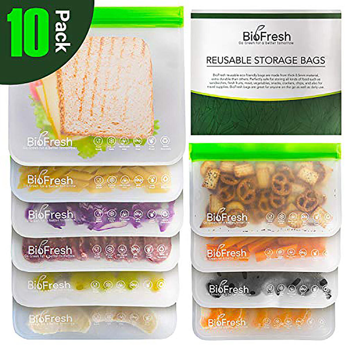 Reusable Sandwich Bags - 10 Pack BPA Free Freezer Bags(4 Reusable Snack Bags + 6 Reusable Sandwich Bags) Leakproof Silicone and Plastic Free PEVA Bags For Snack Meat Sandwich Lunch Food Travel