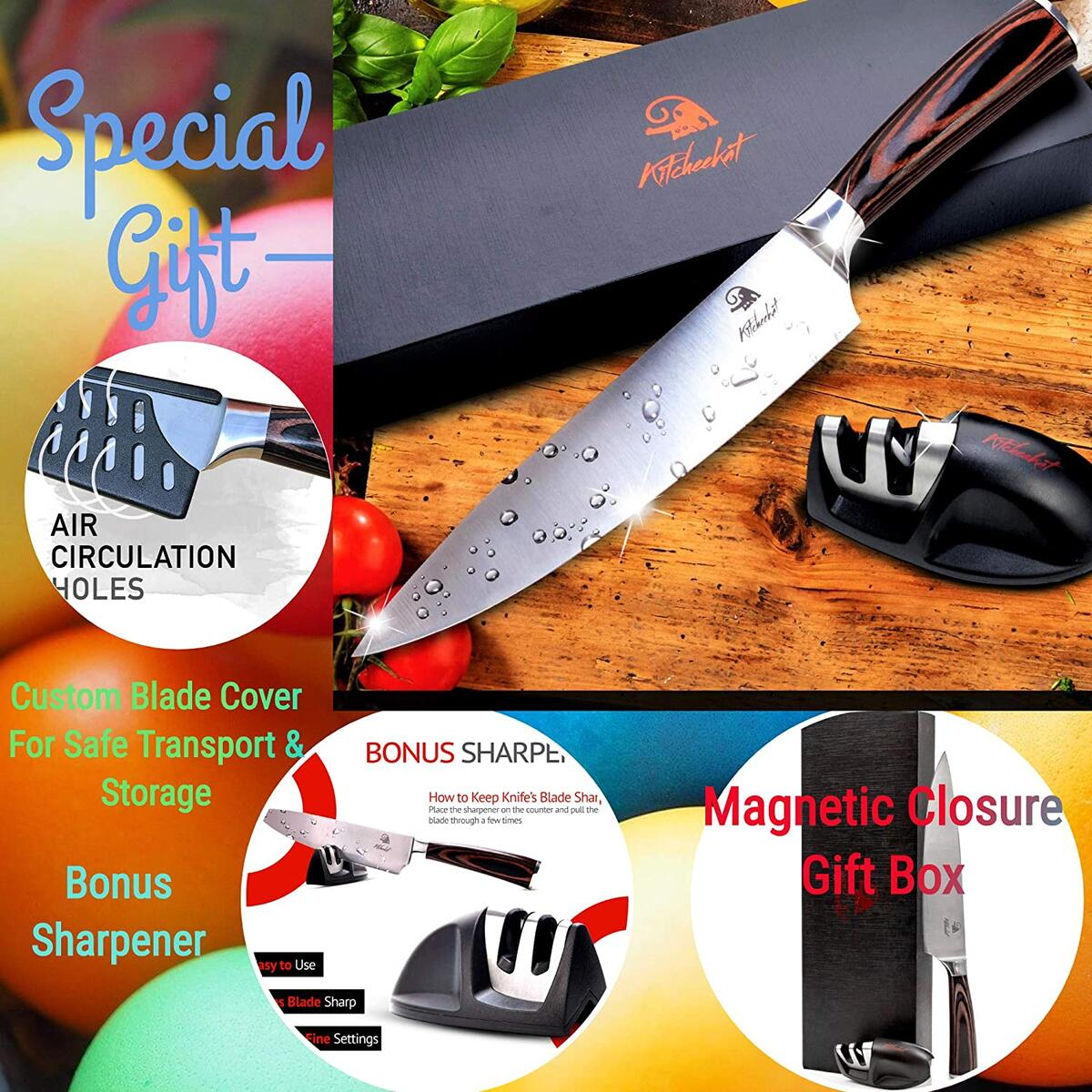 Amazon's Choice Chef's Knife 8 Inch Professional Stainless Steel |Bonus FREE Sharpener|Bonus Free Blade Cover Protector|Free Gift Box All Included!