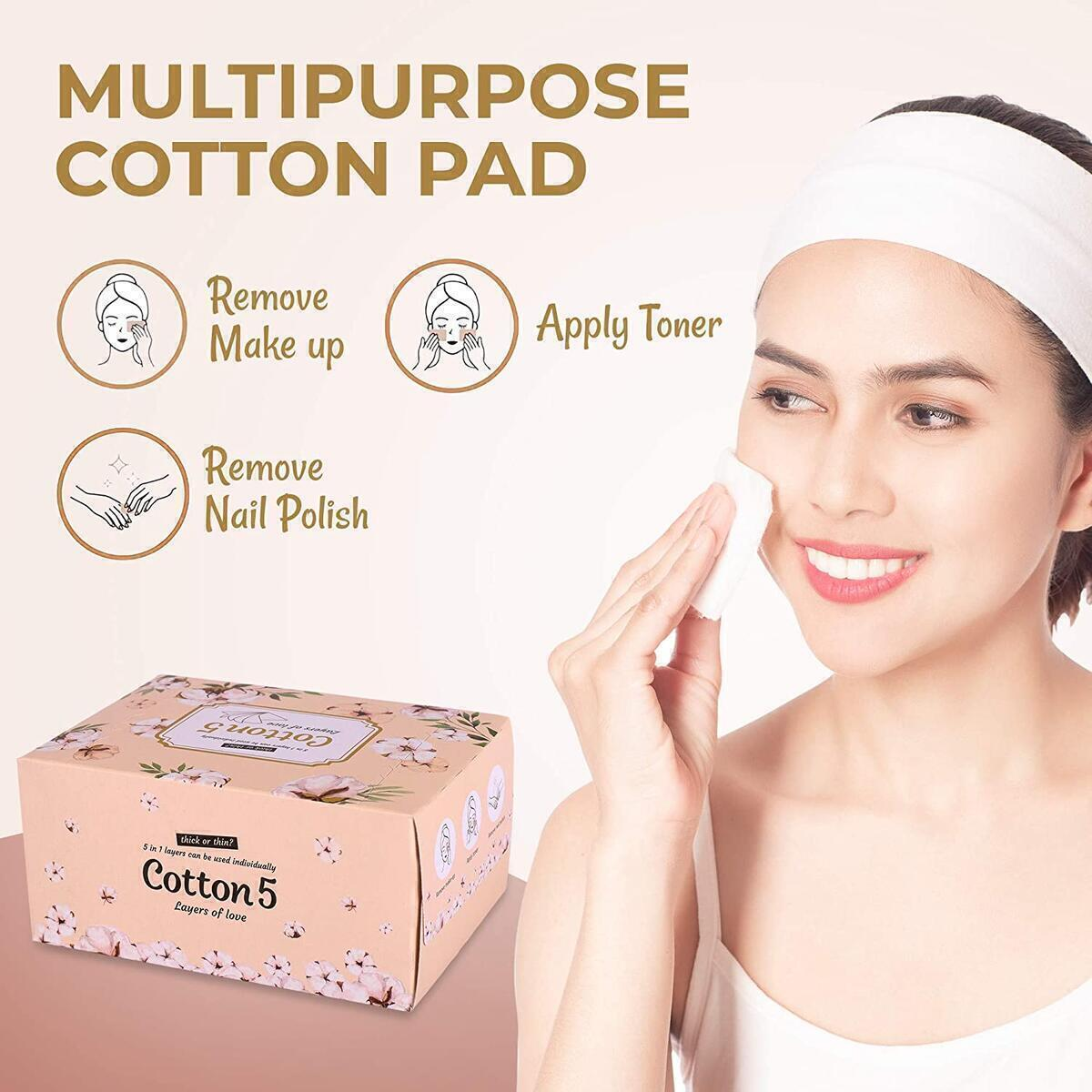 5 Layers Premium Cotton pads-Make-up and Nail Polish Remover, DIY Toner Pad/Lint Free Wipes/Suitable Sensitive Skin/ 100% Pure Cotton/Korean Skin Care Routine