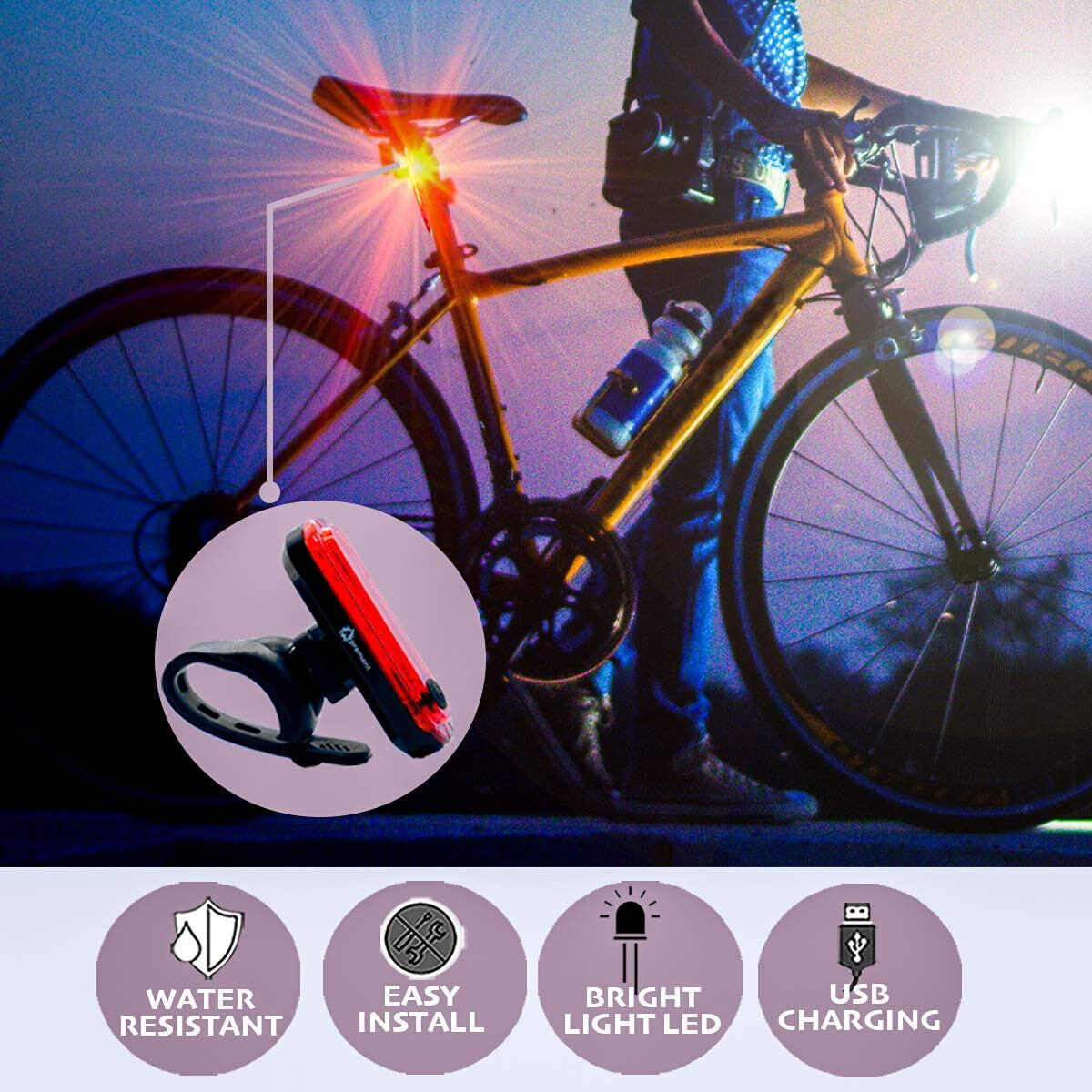 APREMONT Bike Headlight and Rear Bike Light Set - USB Led Rechargeable Bike Lights Front and Back - Super Bright Bike Light Set - Waterproof - Flashing - Suit Road Cycling and etc