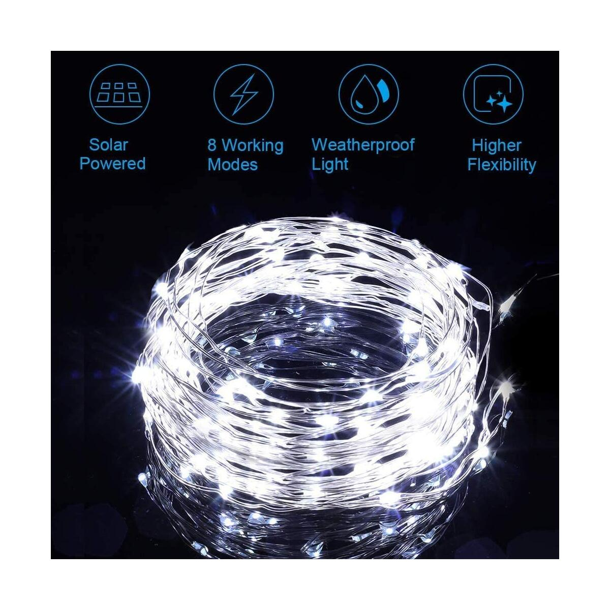 Solar String Lights Outdoor, 2 Pack 120LED Solar Powered Fairy Lights Waterproof 12M/40Ft 8 Modes Indoor/Outdoor Starry Lights Decoration Lighting for Garden, Patio, Yard, Party, Wedding (White)