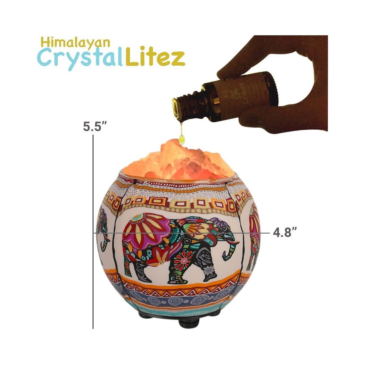 Himalayan CrystalLitez Himalayan Salt Lamp with UL Listed Dimmer Cord, Original Salt Crystals in A Handcrafted Artisan Bowl, Aromatherapy Salt Lamp(Ethnic Elephant)