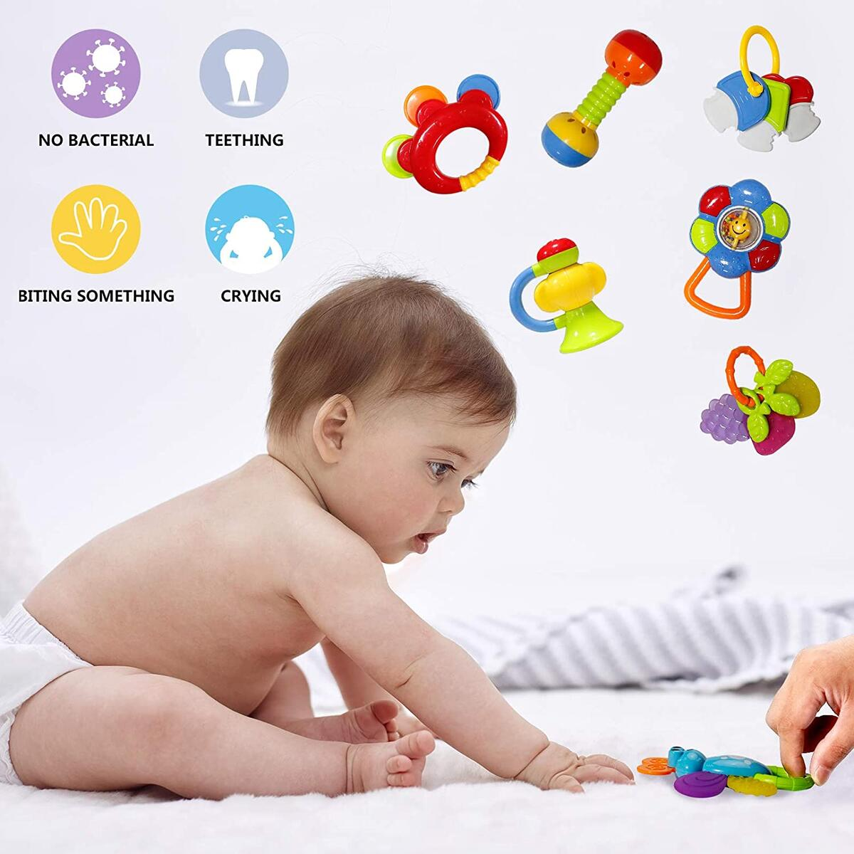 Rattle Teether Set Baby Toys - Happytime 13Pcs Shake Rattle Teethers Early Education Toys for Newborn Infant with Surprise Egg for 3 6 9 12 18Month