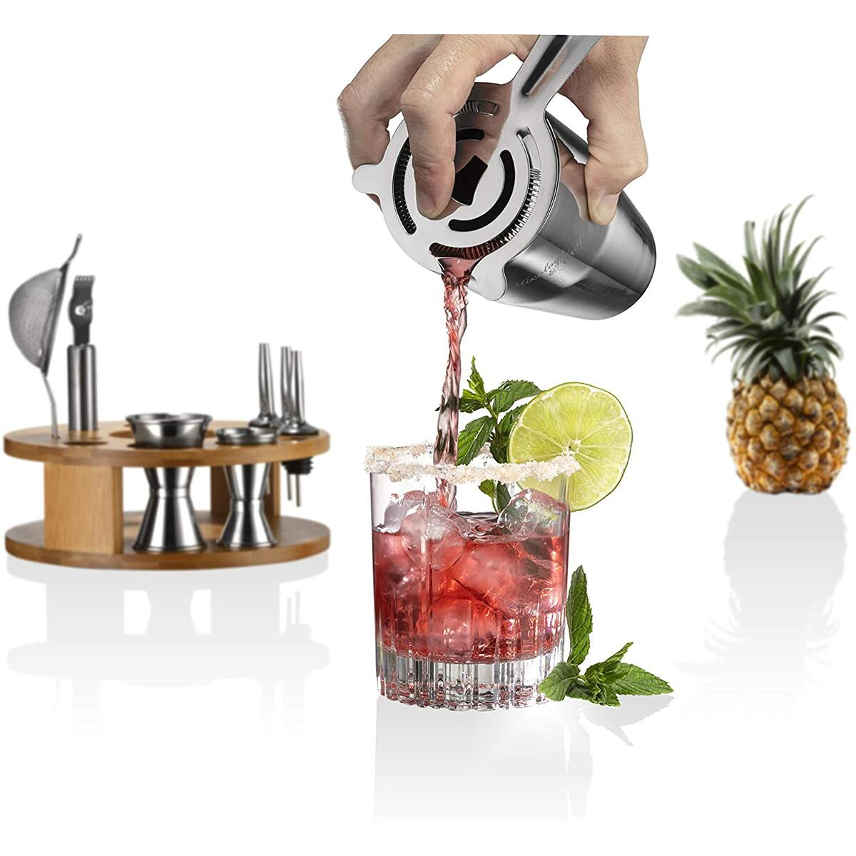 Mixology Bartender Kit: 15-Piece Bar Set Cocktail Shaker Set with Stylish Bamboo Stand | Perfect for Home Bar Tools Bartender Tool Kit and Martini Cocktail Shaker for Awesome Drink Mixing Experience