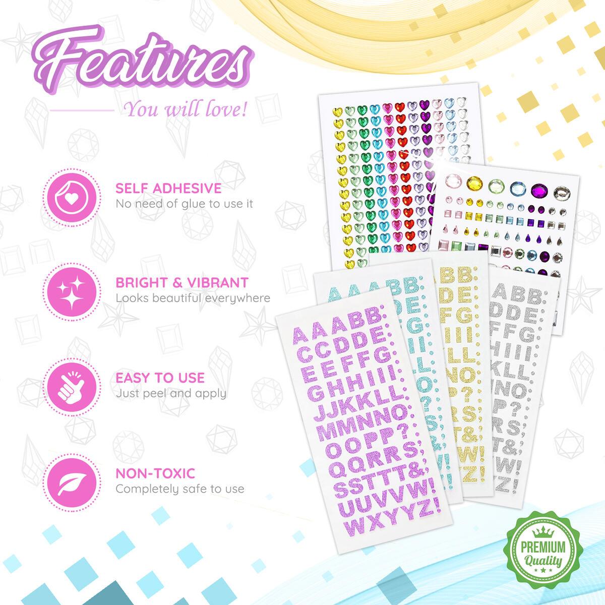 1065 Pcs Bulk Kit Set I Rhinestones Sticker Flatback Adhesive Gems Foam Glitter Letter Stickers I Assorted Sheets Size I Art Crafts, Body Decorations, Self Craft Rhinestone Jewelry