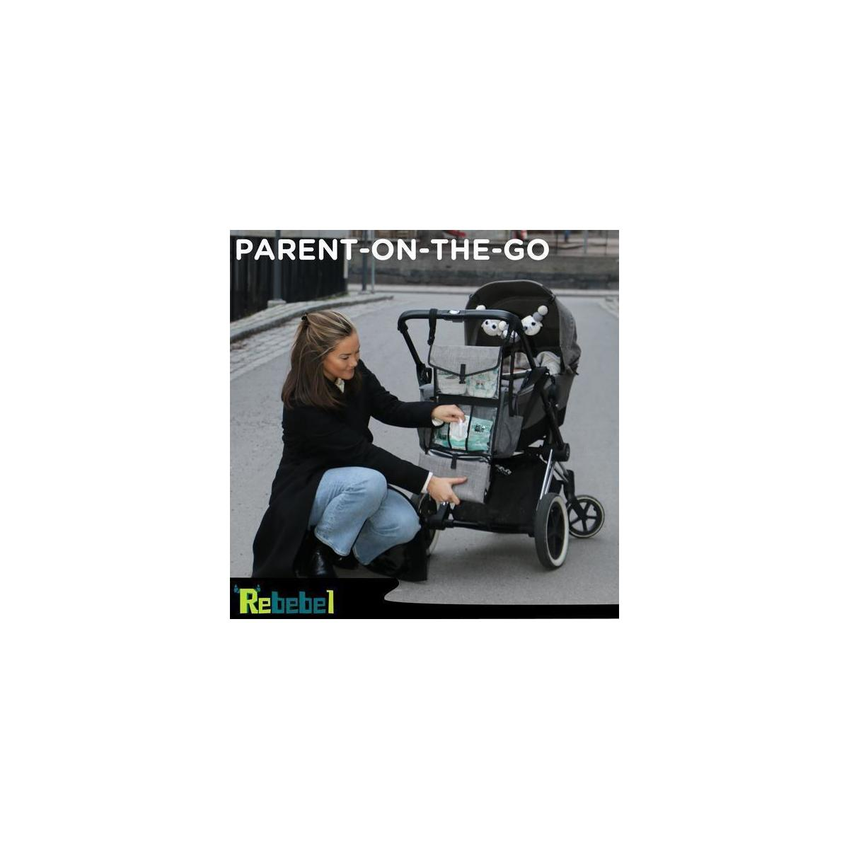 Portable Changing Pad with Convertible Shoulder/Stroller straps + Wipes & Diaper Pockets