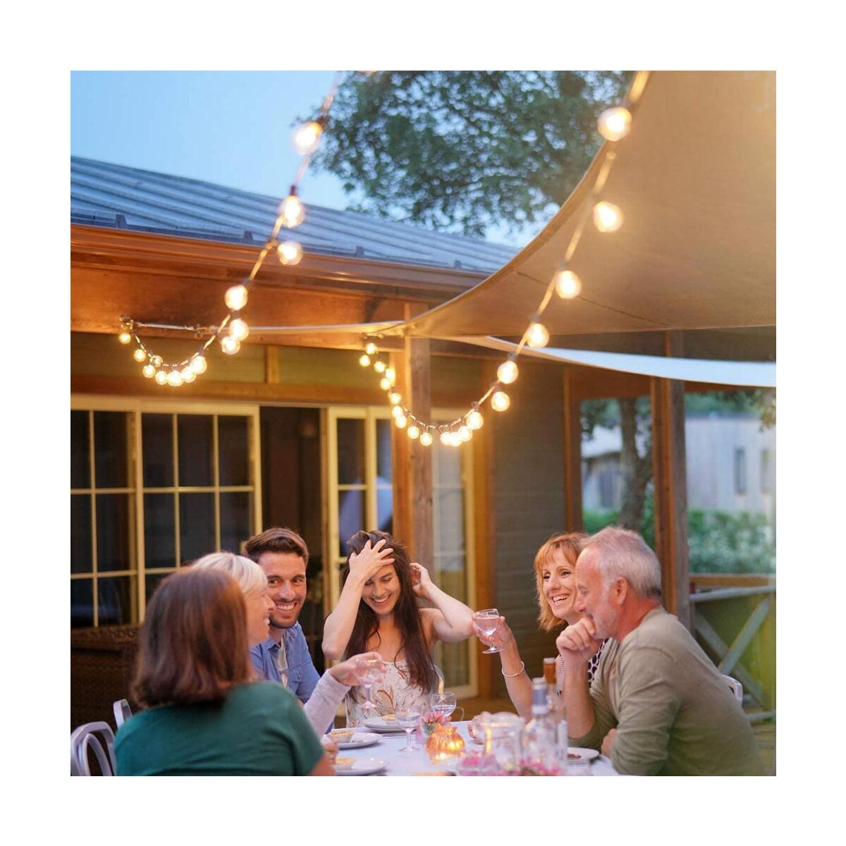 Newpow LED Outdoor String Lights 48ft with 25 Dimmable IPX6 Waterproof G40 LED Globe Bulbs