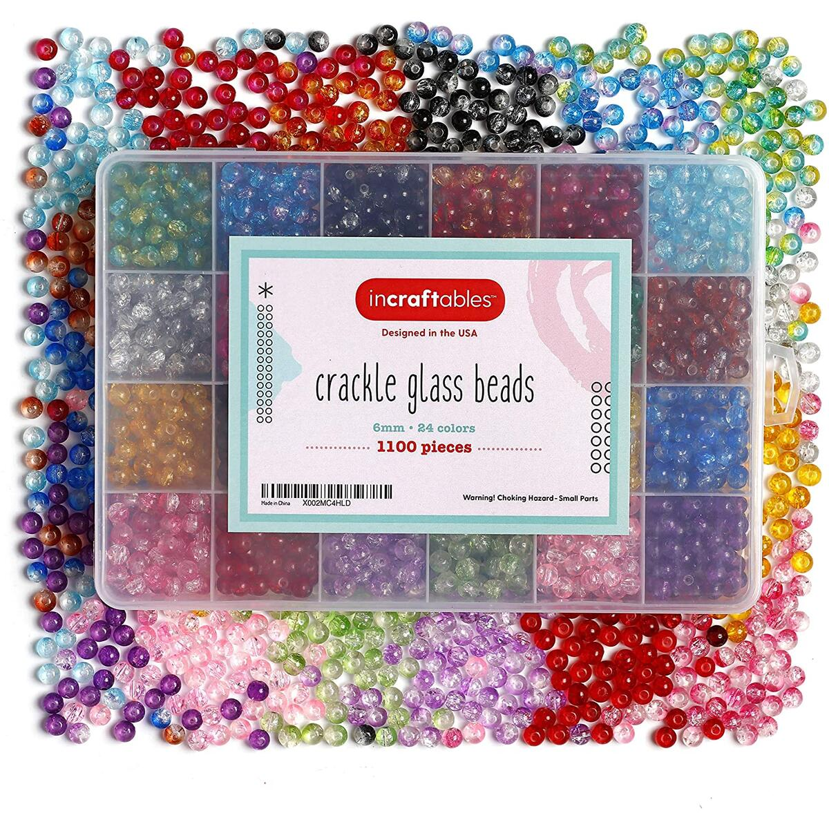Incraftables Crackle Glass Beads 24 Colors 1100pcs 6mm Kit for Jewelry Making, Hair Accessories, Bracelets, & Crafts.
