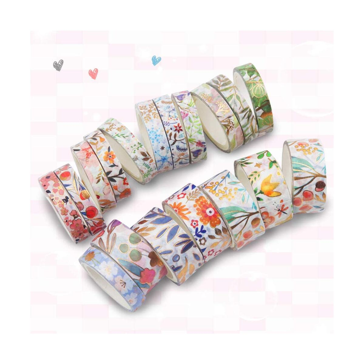 18 Rolls Washi Tape Set, 8/15mm Wide Floral Gold Masking Tape, Foil Gold Skinny Decorative Adhesive Tape for Scrapbook, Bullet Journal, Planner, DIY Arts and Crafts, Gift Wrapping