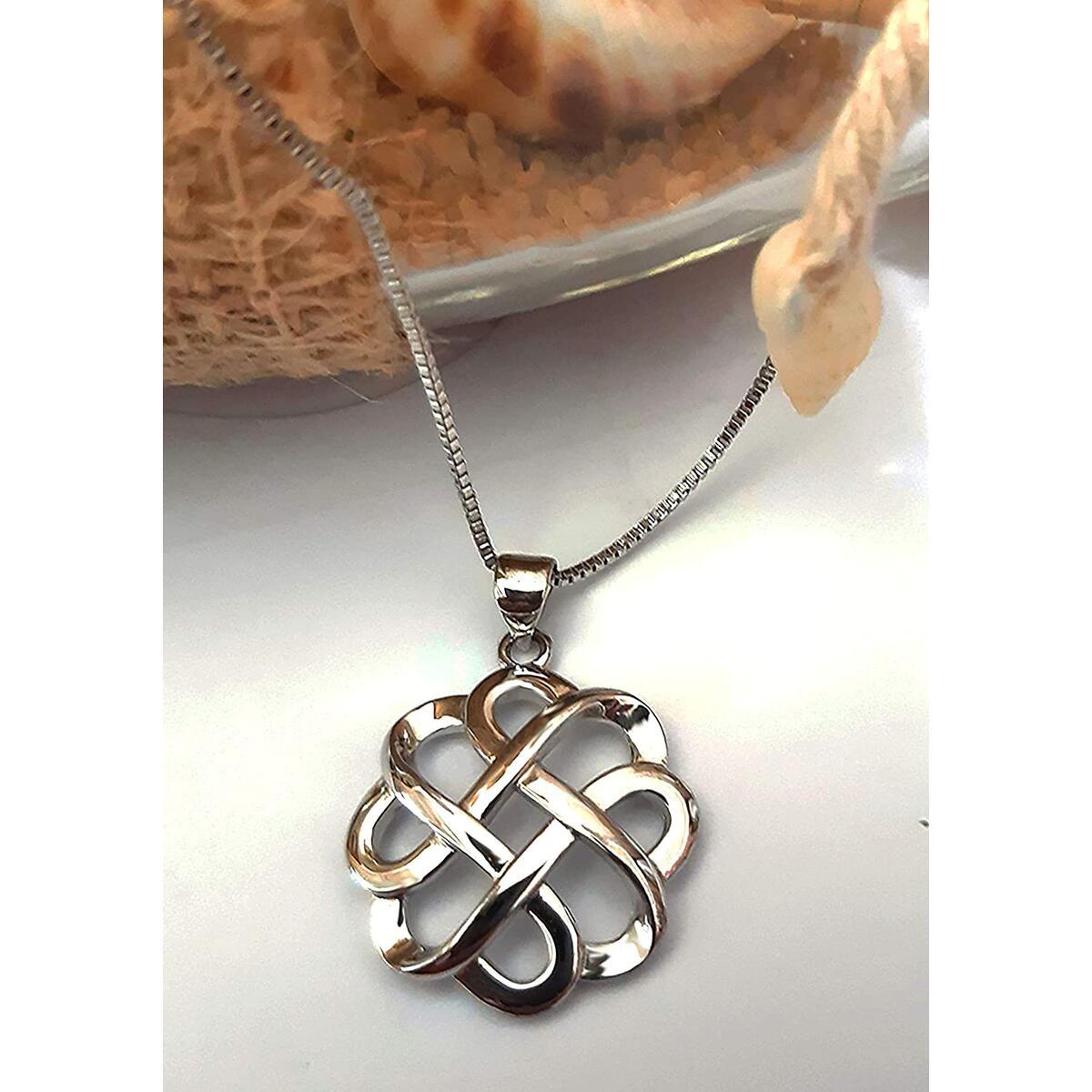 Quality Scape Women's Rhodium Plated Celtic Knot Pendant Necklace, 18