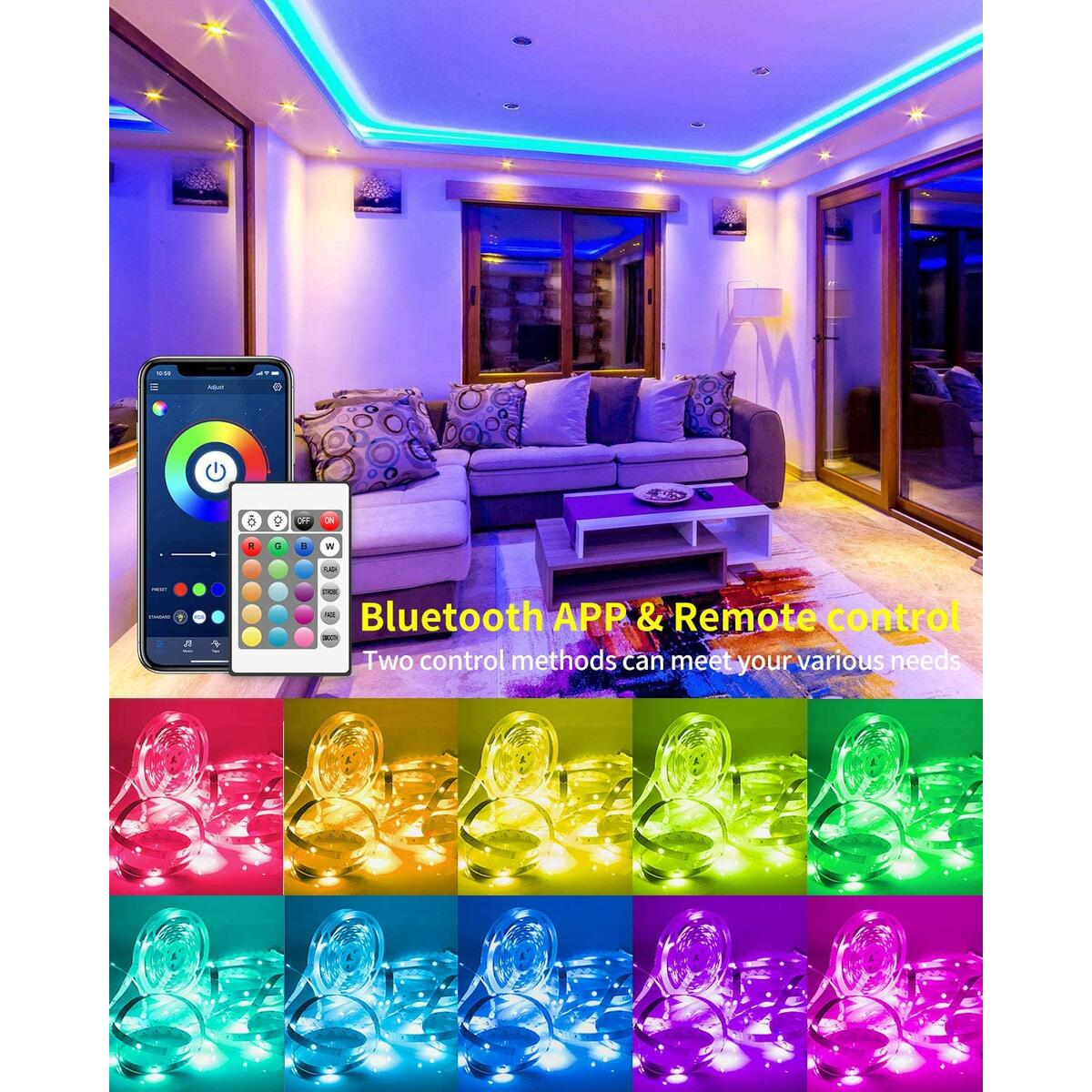 LED Strip Lights 50ft, GUPUP Smart LED Lights for Bedroom 5050 RGB Color Changing Light Strip Sync to Music LED Tape Lights Controlled by Bluetooth APP and 24-Key Remote