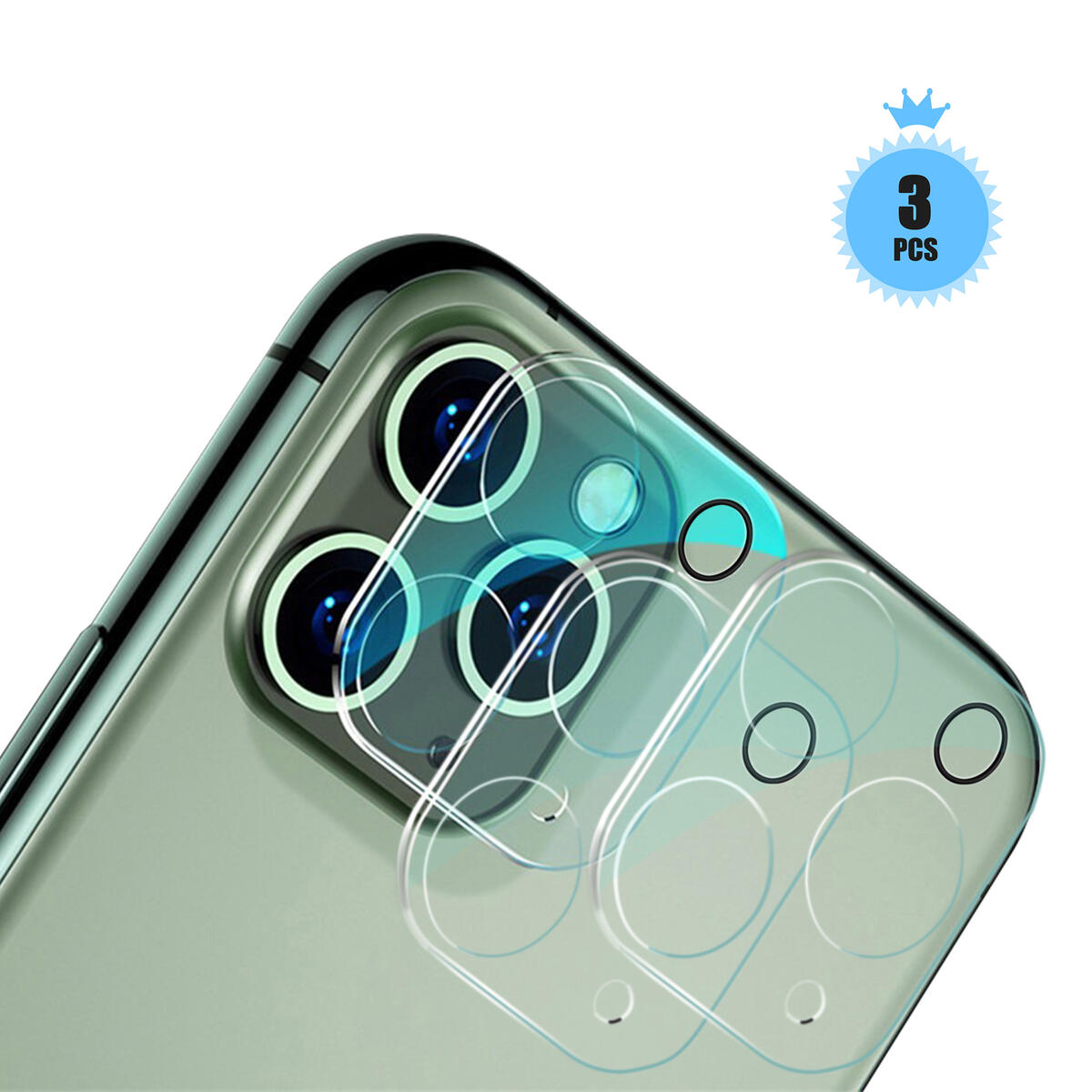 HD Tempered Glass Camera Lens Protector for iPhone 11 Pro/iPhone 11 Pro Max,Ultra-Thin,Clear Screen,Cover Film,Bubble Free,Smooth 3D,Anti-Scratch,Anti-Fingerprint,Easy Install,9H Hardness(3 Packs)