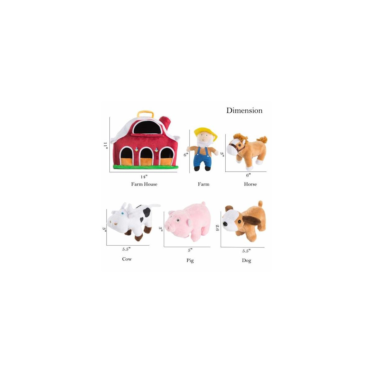 Farm House with 4 Plush Animals Horse Cow Pig Dog with 1 Farmer, Stuffed Toys Farm Barn Carry Along Case, Great for Kids Boys Girls, Christmas Children's Day Gift
