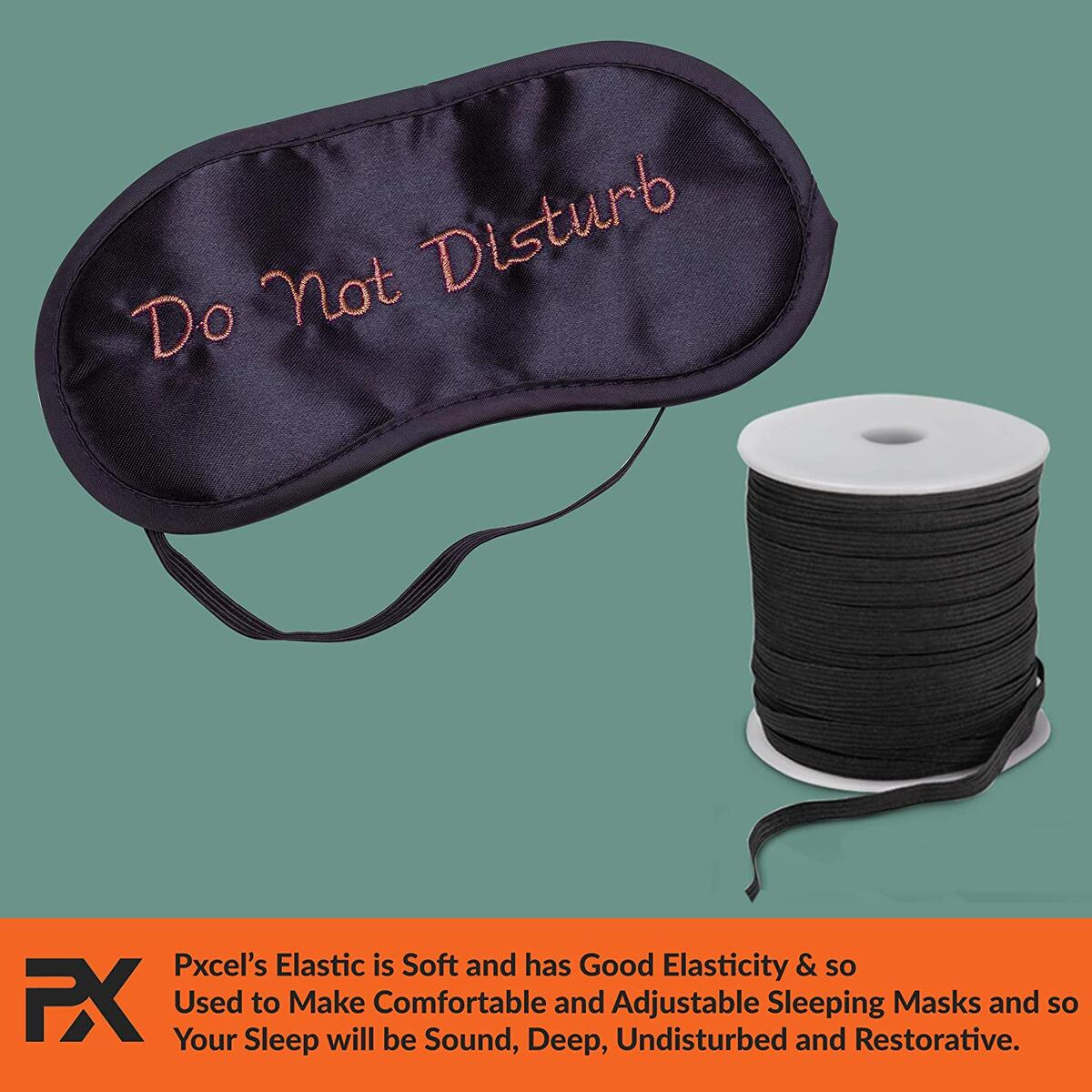 Elastic Band String Cord Braided for Sewing Comfortable Masks & DIY Crafts by Pxcel, 75 Yards, Black with High Elasticity 1/4 Inch Wide in Sturdy Plastic Spool