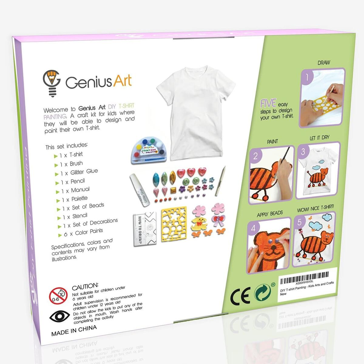 Genius Art DIY T-Shirt Painting - Girls and Boys Arts and Crafts Toys - Stocking Stuffers for Kids