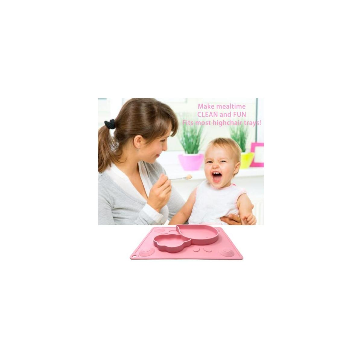 Silicone Placemat for Kids + Bonus Spoon & Fork Set with Carrying case - Portable Baby Plate, Non Toxic, Dishwasher + Microwave + Oven Safe, Table Suction, Easy to Clean, by Koality Goods - Baby Pink
