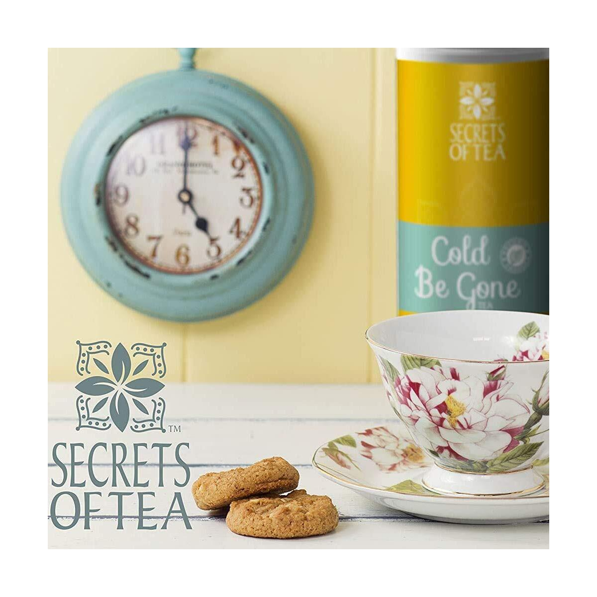 Secrets of Tea Cold Be Gone Tea for Cold and Flu Symptoms - Natural USDA Organic Throat Coat Tea Caffeine-Free Herbal Immunity Tea, Cough, Congestion, Throat, Fever, and Sleep - 40 Servings