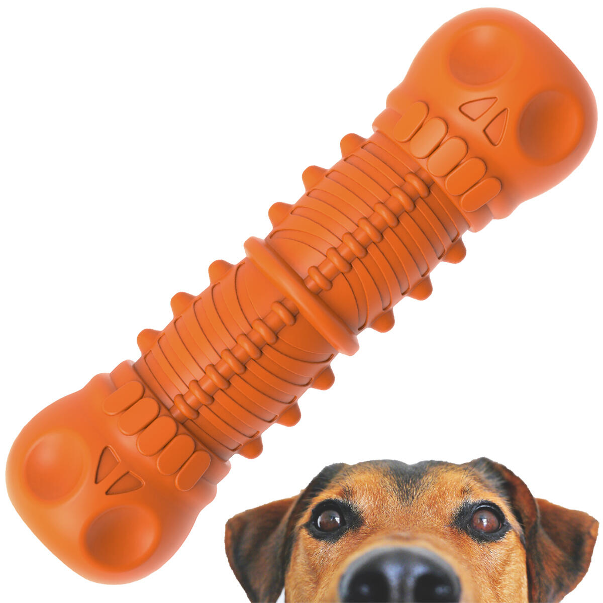 YukiHobby Dog Toys with Squeaky for Aggressive Chewers Large Breed Indestructible Rubber Interactive Molar Milk Flavor Orange