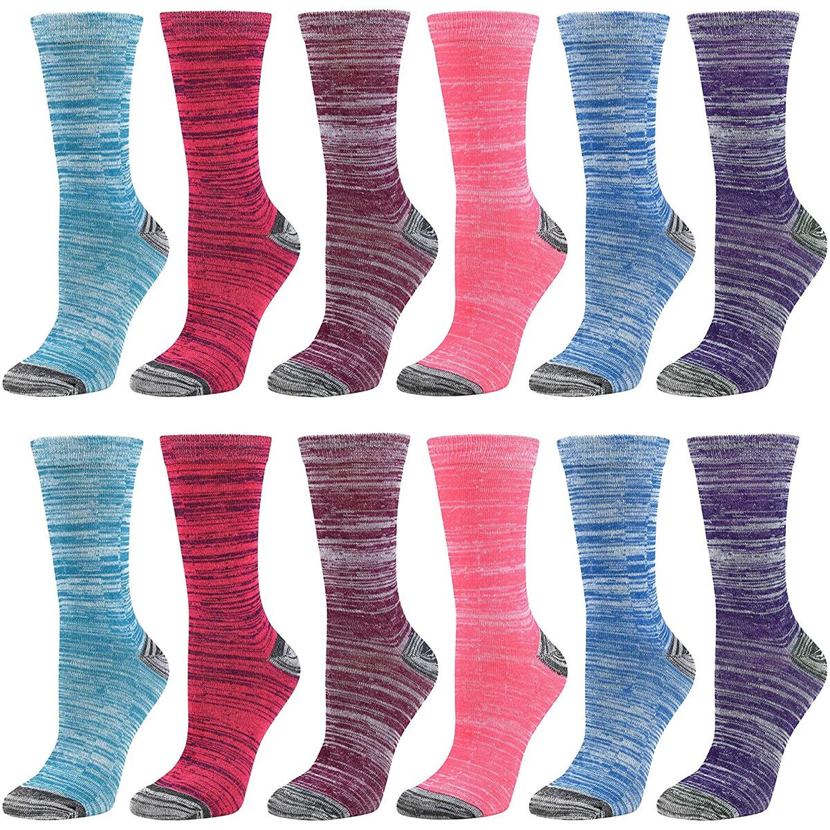 12 Pairs Women's Colorful Crew argyle Socks Cotton Casual Patterned Fun Socks for Girls Debra Weitzner Color Tie Die