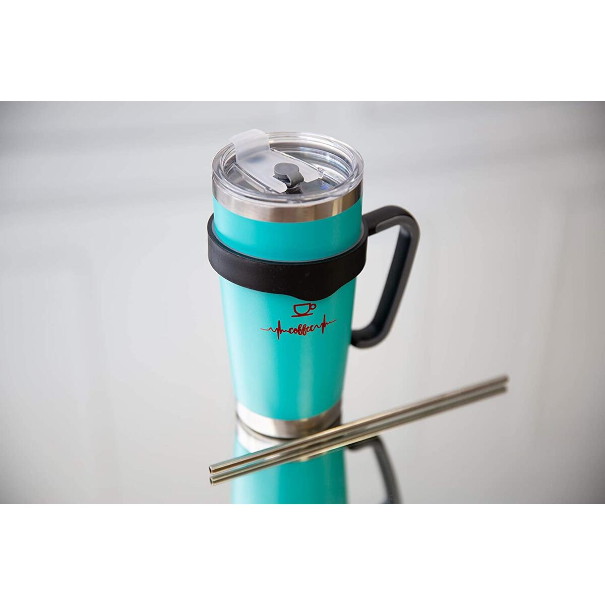 Maribus-FL 20 Oz Travel Tumbler with Lid, Handle, Straw, Straw Openning Stainless Steel Vacuum Insulated Coffee Tumbler, Mug for Women, Men