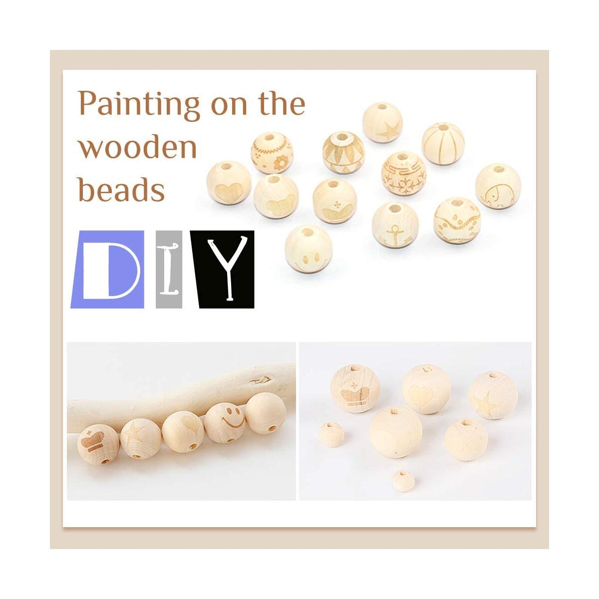 500pcs Natural Wood Beads, 6 Sizes Unfinished Wooden Decorative Beads Round Loose Beads Suitable for Home and Holiday Decor, DIY Craft Making(8mm,10mm,12mm,14mm,16mm,20mm)