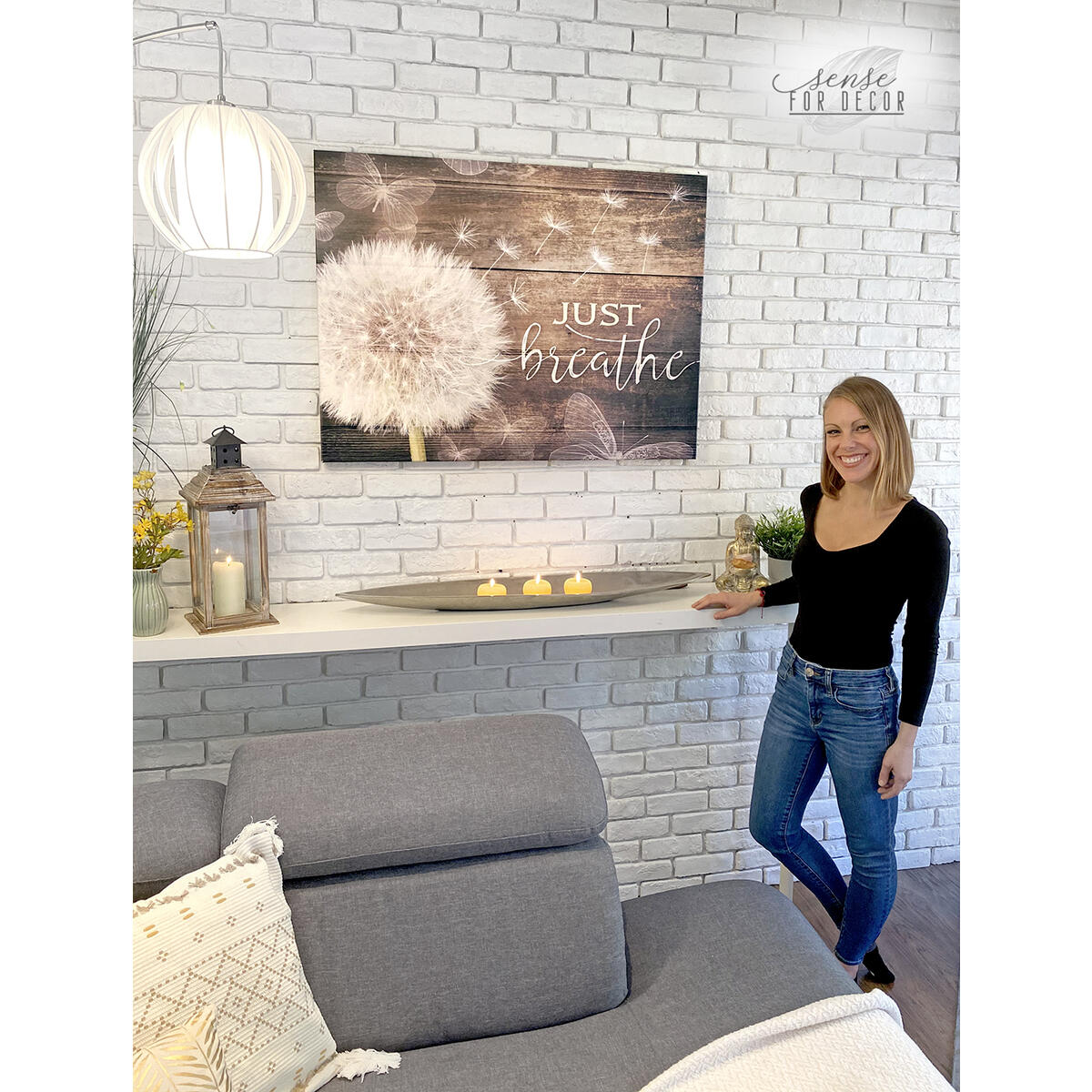 Stunning Just Breathe Wall Art Huge Discount! 19X42 Wood Frame Ready To Hang