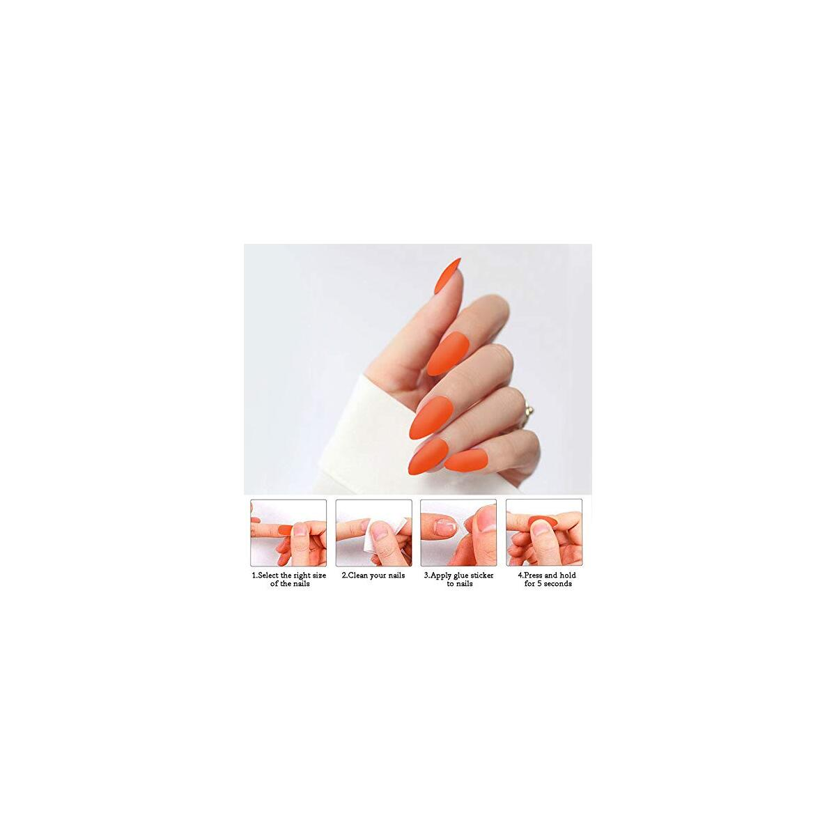 24Pcs False Nails Full Cover Coffin Acrylic Fake Nails Party Prom Clip on Nail for Women and Girls