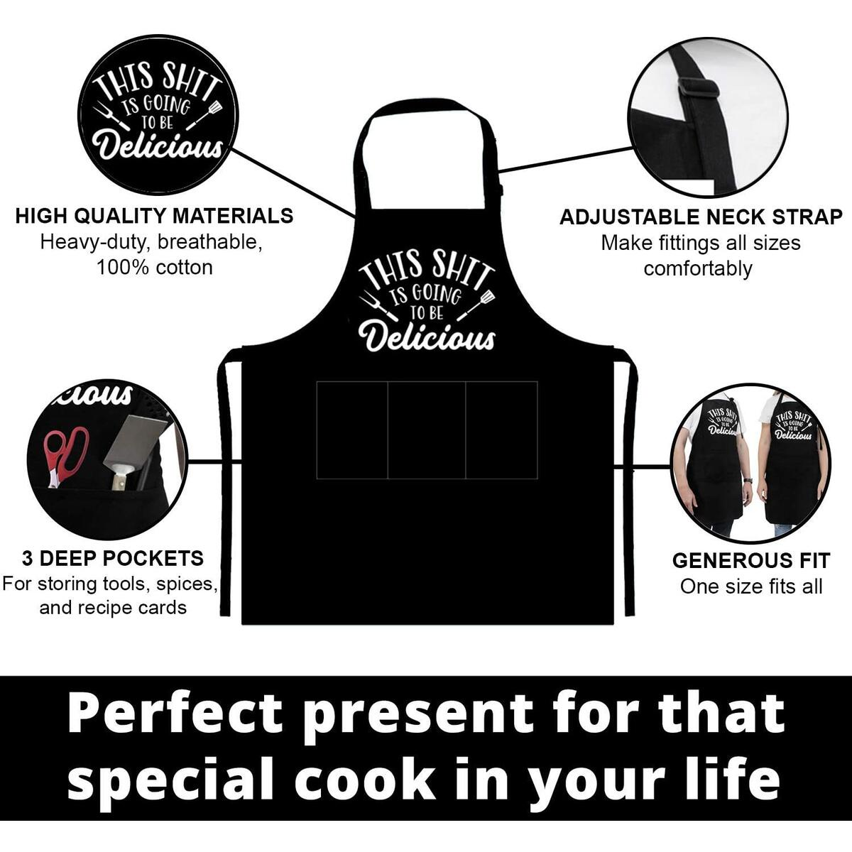 Funny Aprons for Men, Women with Pockets for Grill Cooking BBQ Kitchen Chef Apron Gifts for Men, Women - Birthday Gifts for Dad, Mom, Boyfriend, Him, Her, Husband, Wife