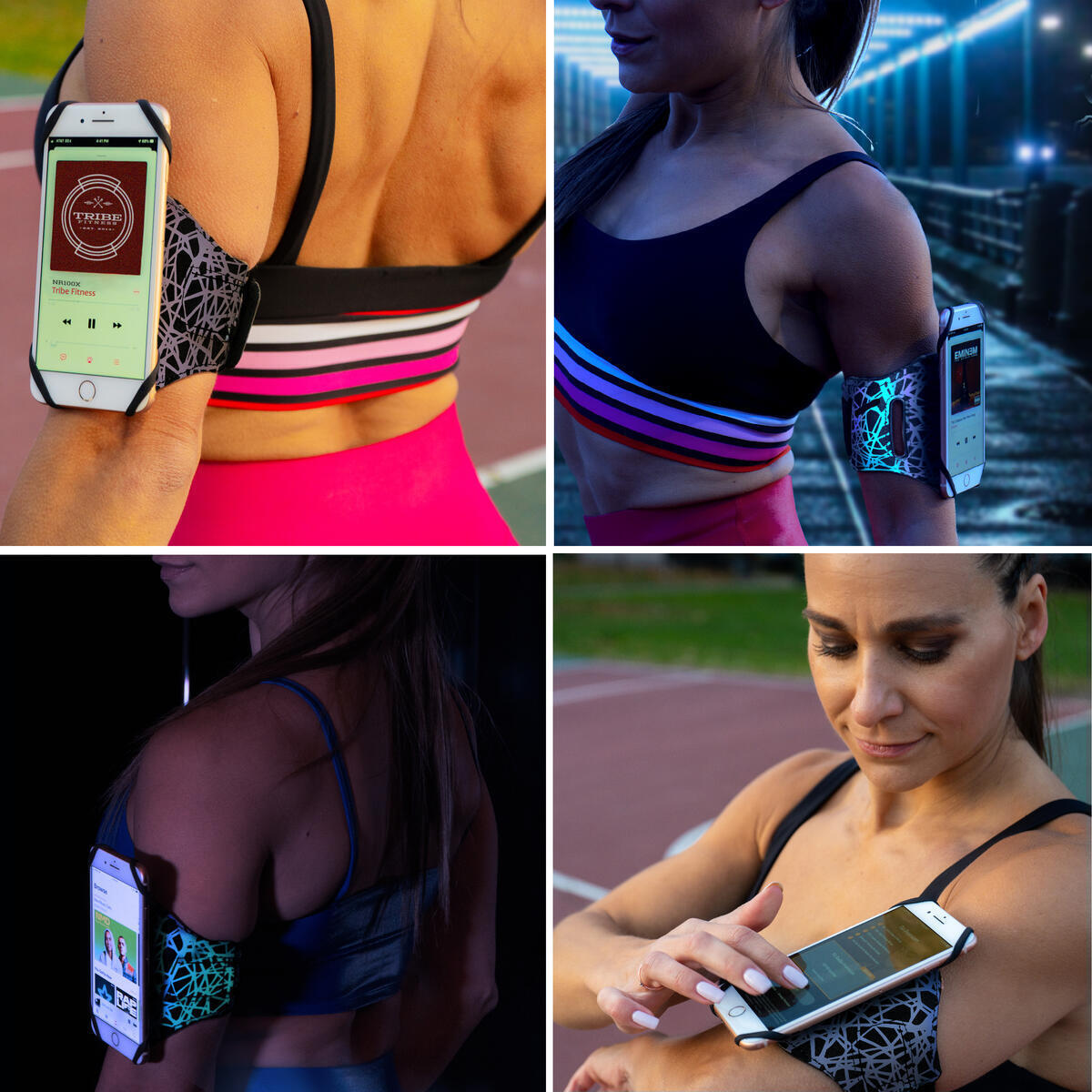 Tribe Reflective Running Phone Armband Holder for iPhone, Galaxy, Workout Arm Band, Women, Men. 360° Rotation & Detachable.