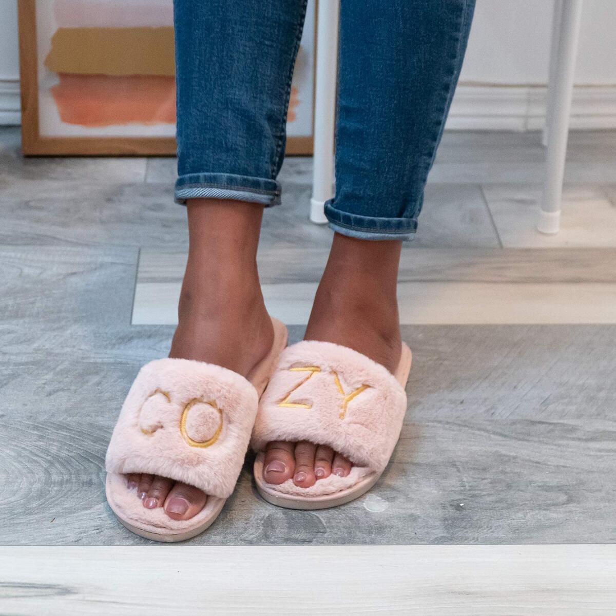 Embroidered Fuzzy Slippers - Cozy Warm Fluffy Faux Fur Memory Foam Slipper