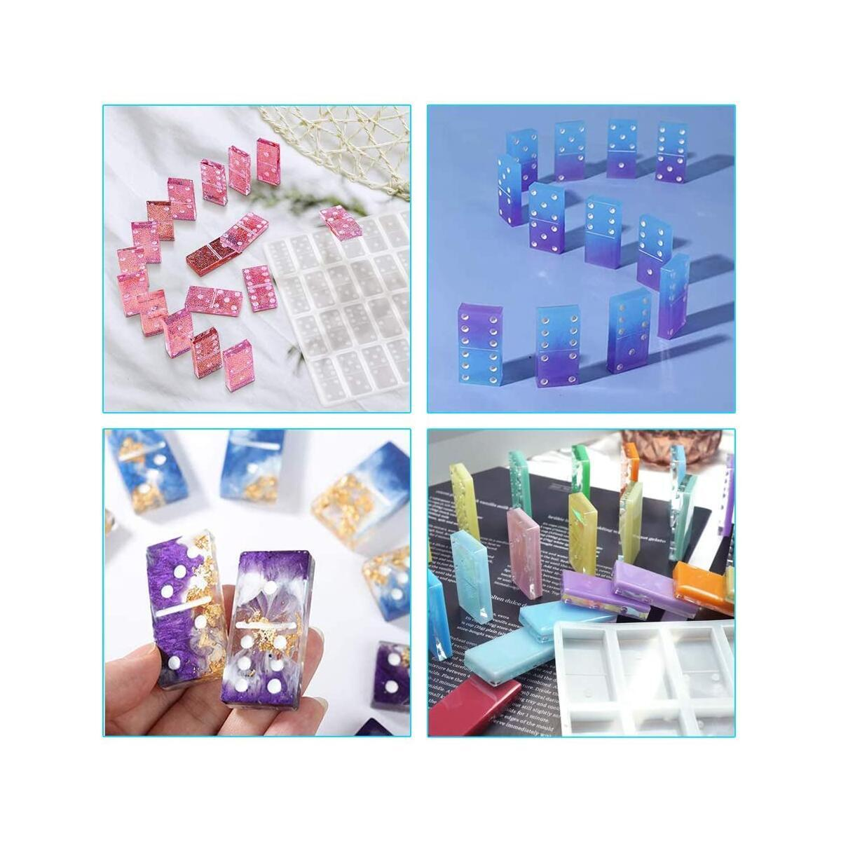 Muerk Resin Molds, Domino Molds for Resin Casting, Silicone Domino Double Six Epoxy Resin Molds, DIY Silicone Molds for Personlized Dominoes, Game Molds
