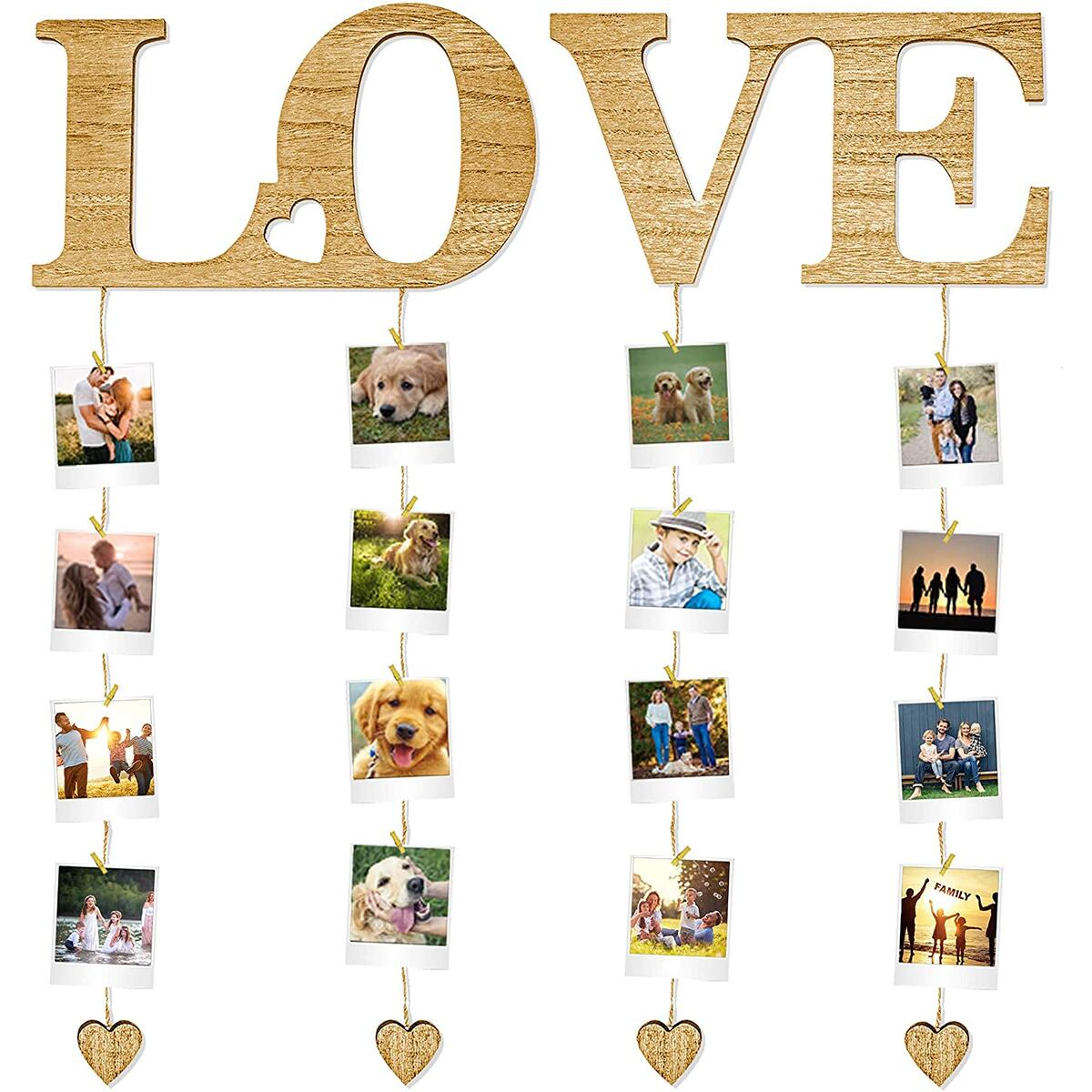 Hanging Moments Love Wall Decor for Bedroom Polaroid Picture Frame Collage for College Dorm Decor Aesthetic Hanging Photo Display with Clips