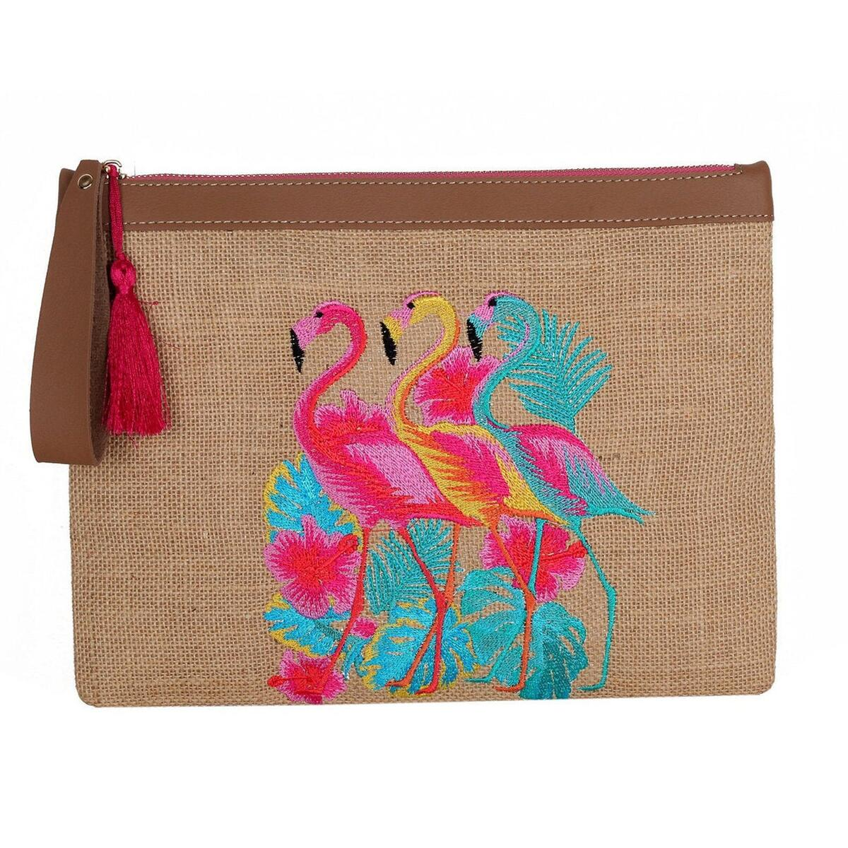 Flamingo Family Embroidery Jute Clutch, Leather Holder with Tassel, Elephants, Bamboo Green, Bamboo Fushia-Pink design, Handbags for Women