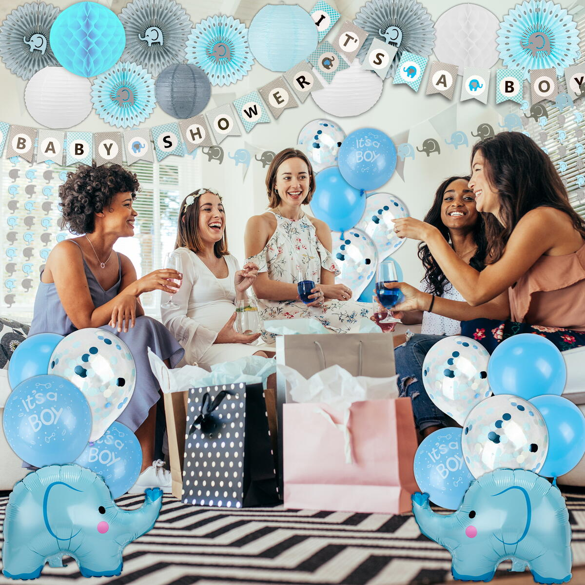 Glamrizz 164 Piece Elephant Baby Shower Decorations for Boy - It's a Boy Baby Shower Banners, 90 Elephant 10 PC Backdrop Garlands, Balloons, Cake Toppers, Blue Themed Baby Shower Boy Decorations