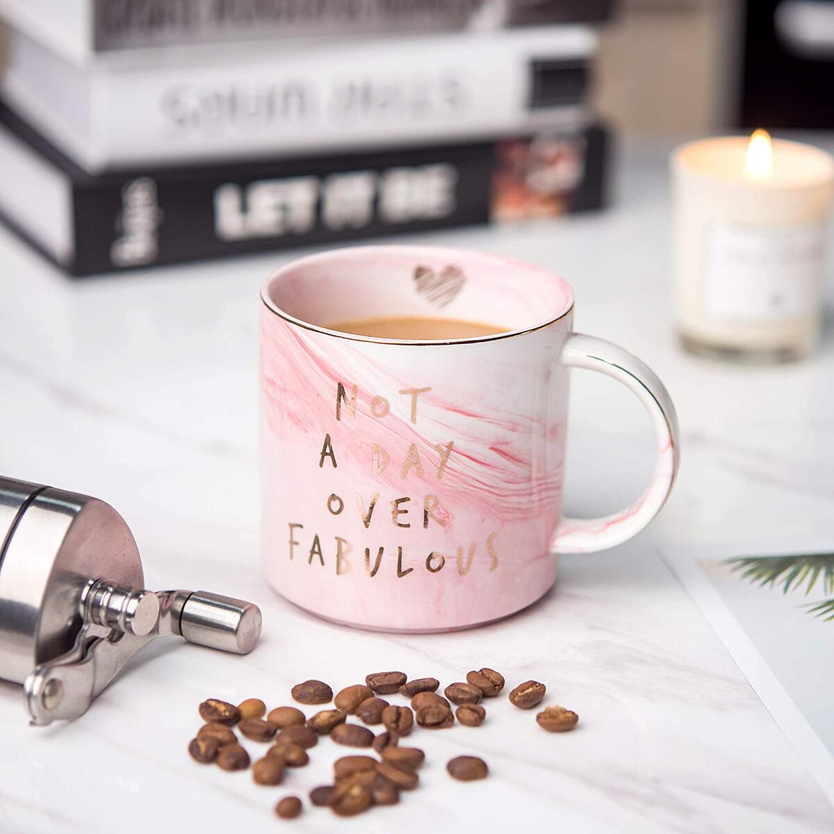 Not a Day Over Fabulous - Funny Birthday, Mothers Day Gifts Ideas for Women, Wife, Mom, Daughter, Sister, Aunt, Best Friends, BFF, Coworkers, Her - Pink Marble Mug, Ceramic Coffee Cup