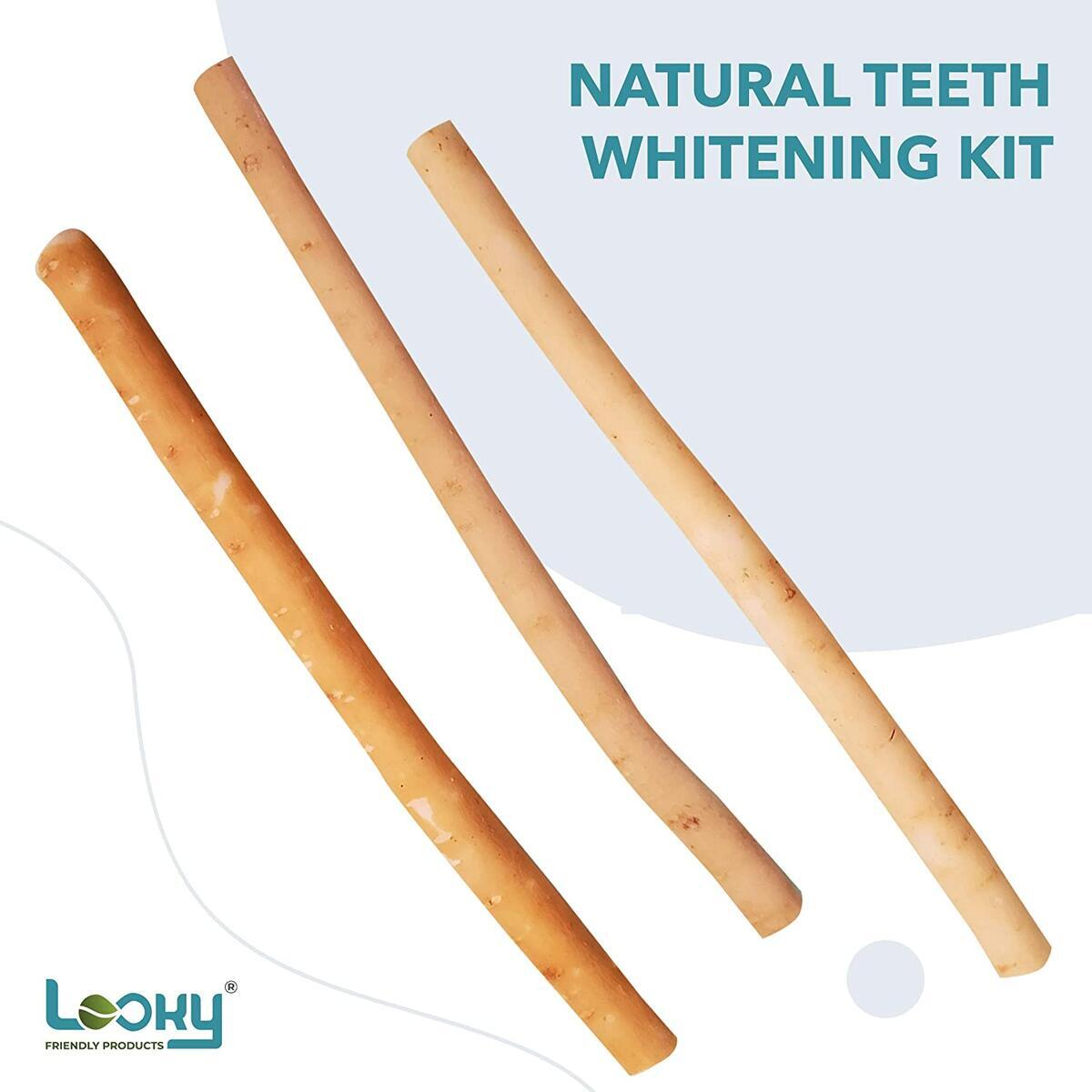 LOOKY 3 Pack Natural Teeth Whitening & Toothbrush kit No Toothpaste  Strong Gums and Fresher Breath with Bamboo Holder