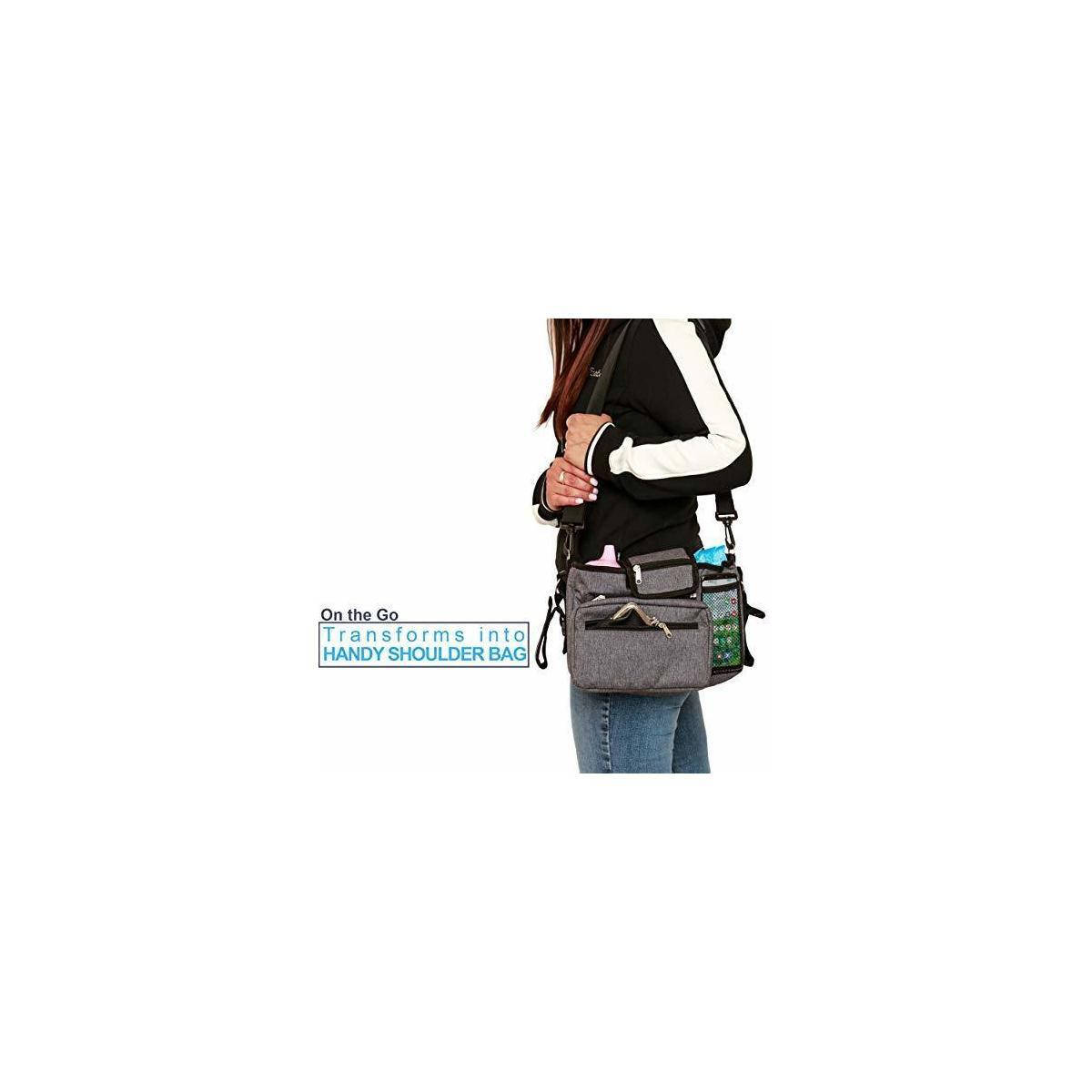 Deluxe Baby Stroller Organizer with Non-Slip Straps for Universal Fit. Spacious and Versatile – turns into Shoulder Bag or Clutch – includes Insulated Cup Holder, Customizable Storage