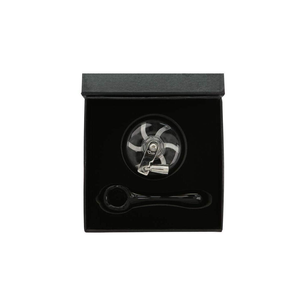 [AMMAKE]Hand Cranked Black herb Grinder and Skull Glass Accessories. Aluminum Grinder for Herb and Spice 4 Parts 2.2 Inch