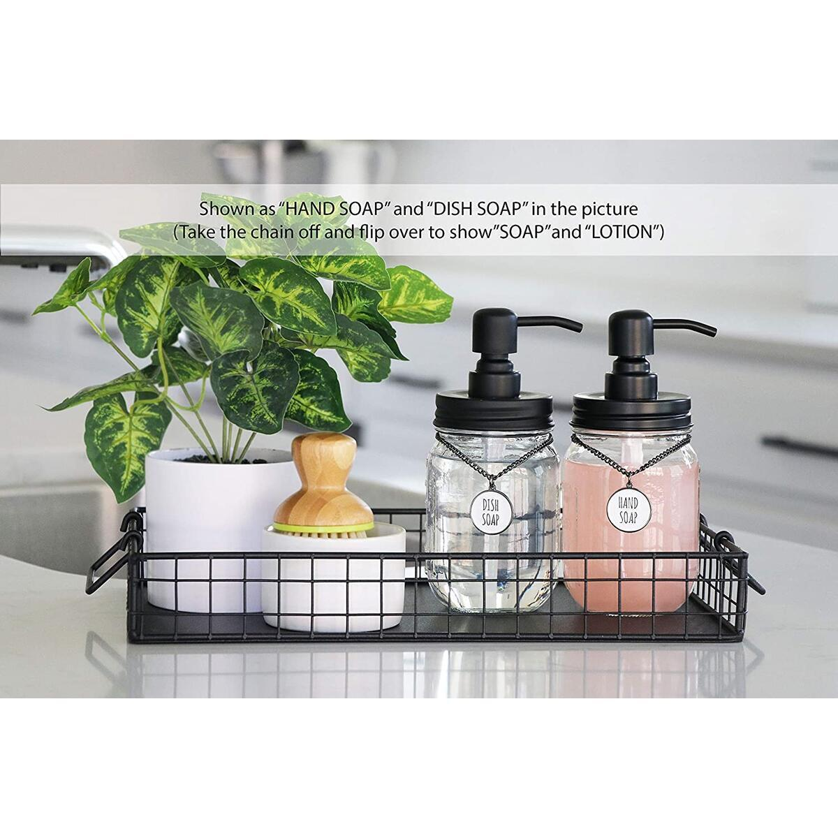 Mason Jar Soap Dispenser Set (2-pack) with SOAP and LOTION Hang Tags (Black)